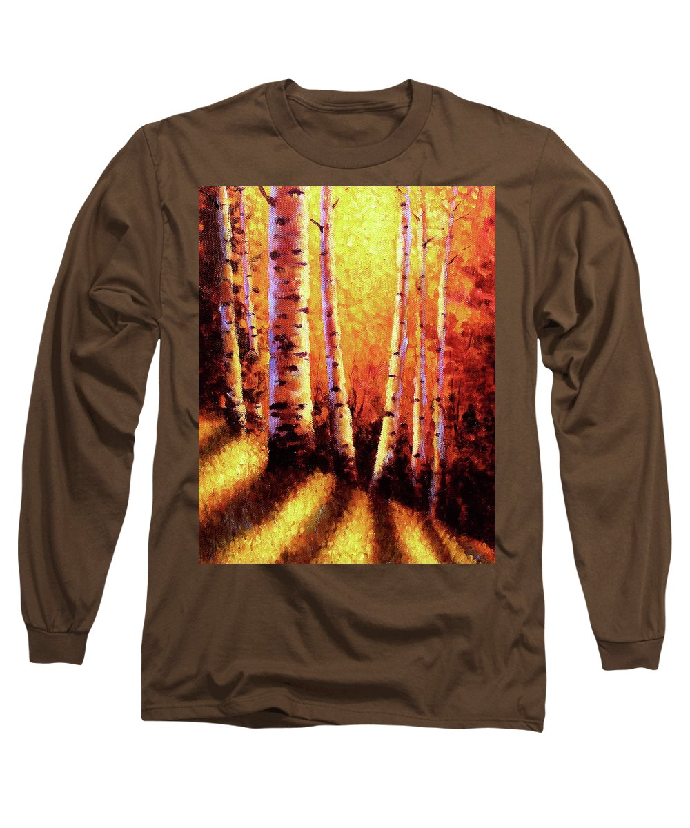 Sunlight Long Sleeve T-Shirt featuring the painting Sunlight Through The Aspens by David G Paul