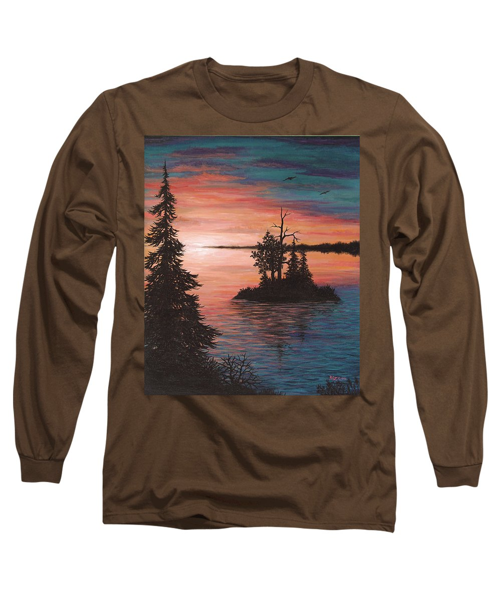 Sunset Long Sleeve T-Shirt featuring the painting Sunset Island by Roz Eve