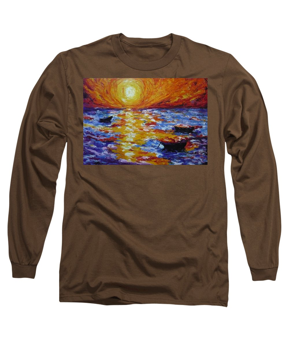 Landscape Long Sleeve T-Shirt featuring the painting Sunset With Three Boats by Ericka Herazo