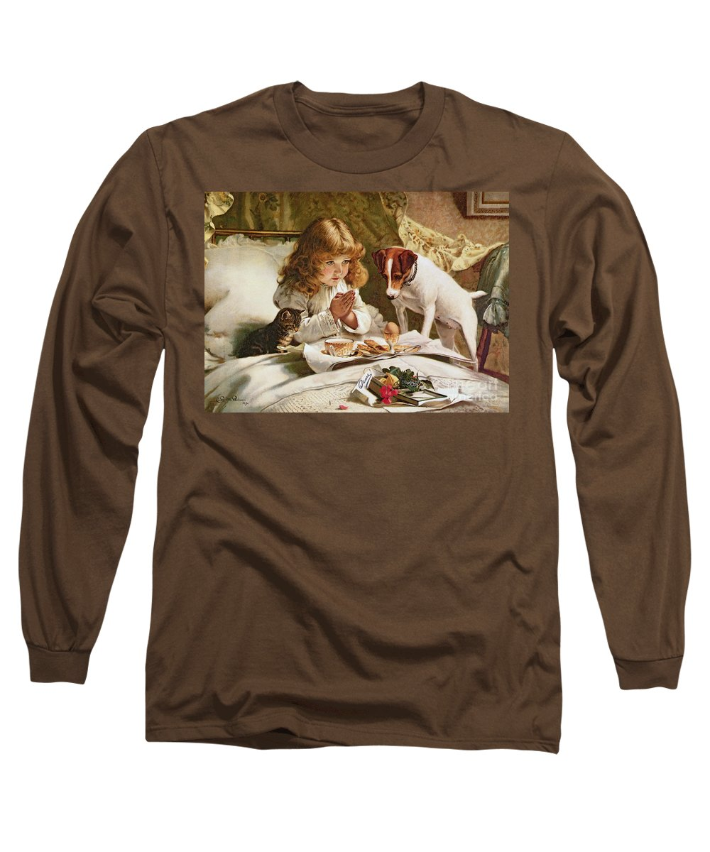 Suspense Long Sleeve T-Shirt featuring the painting Suspense by Charles Burton