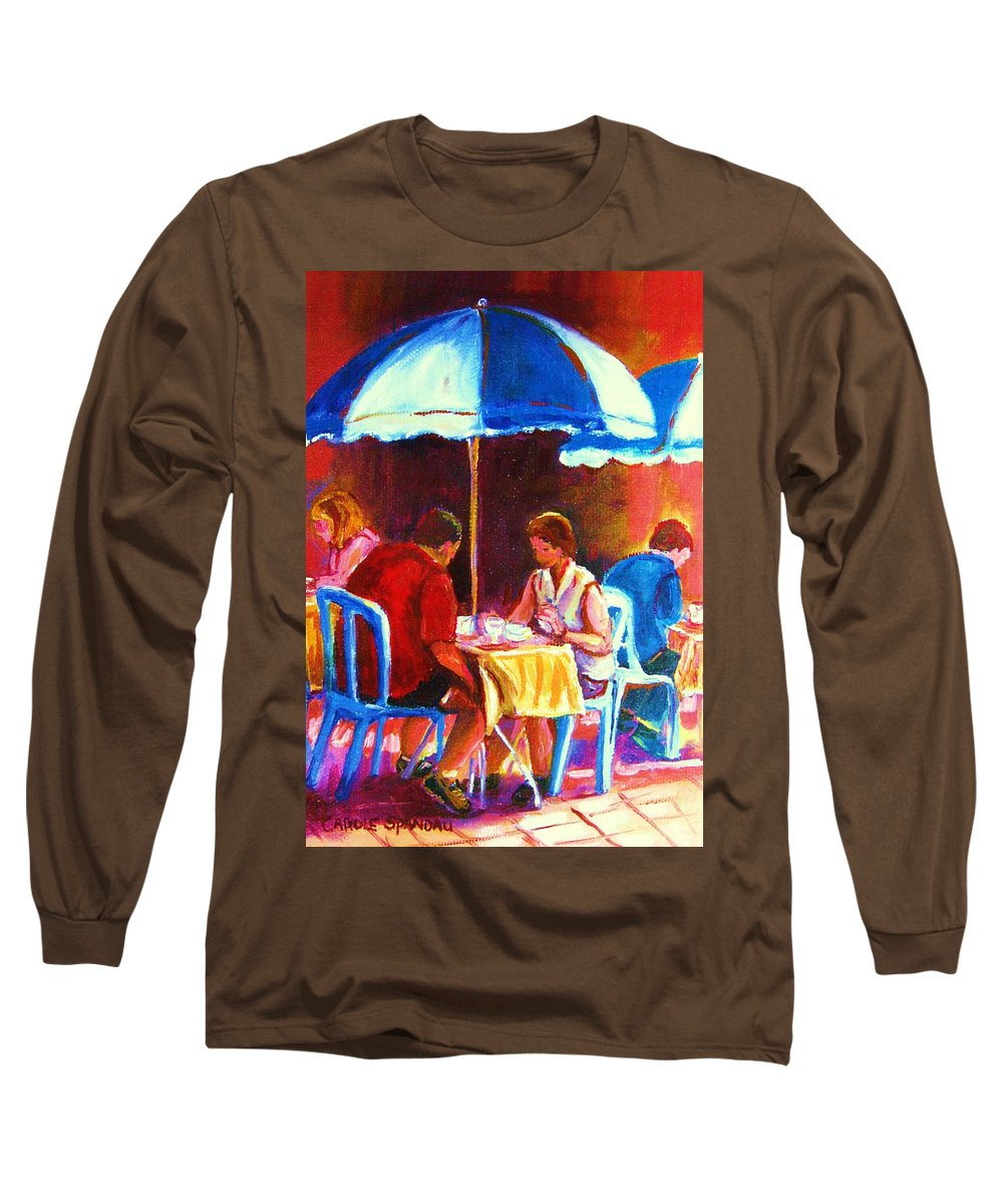 St. Denis Outdoor Cafe Montreal Street Scenes Long Sleeve T-Shirt featuring the painting Tea For Two by Carole Spandau