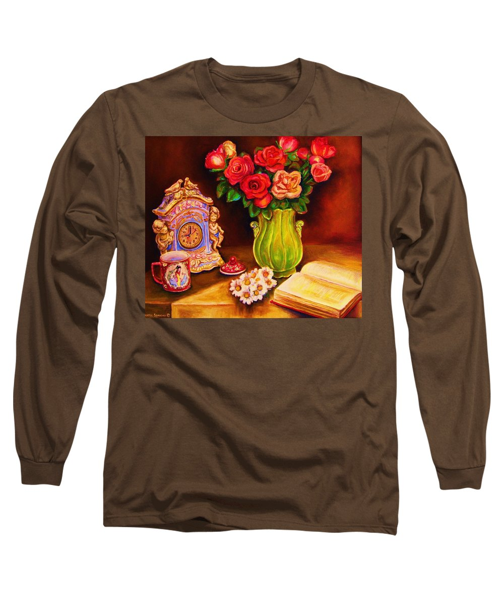 Impressionism Long Sleeve T-Shirt featuring the painting Teacup And Roses by Carole Spandau