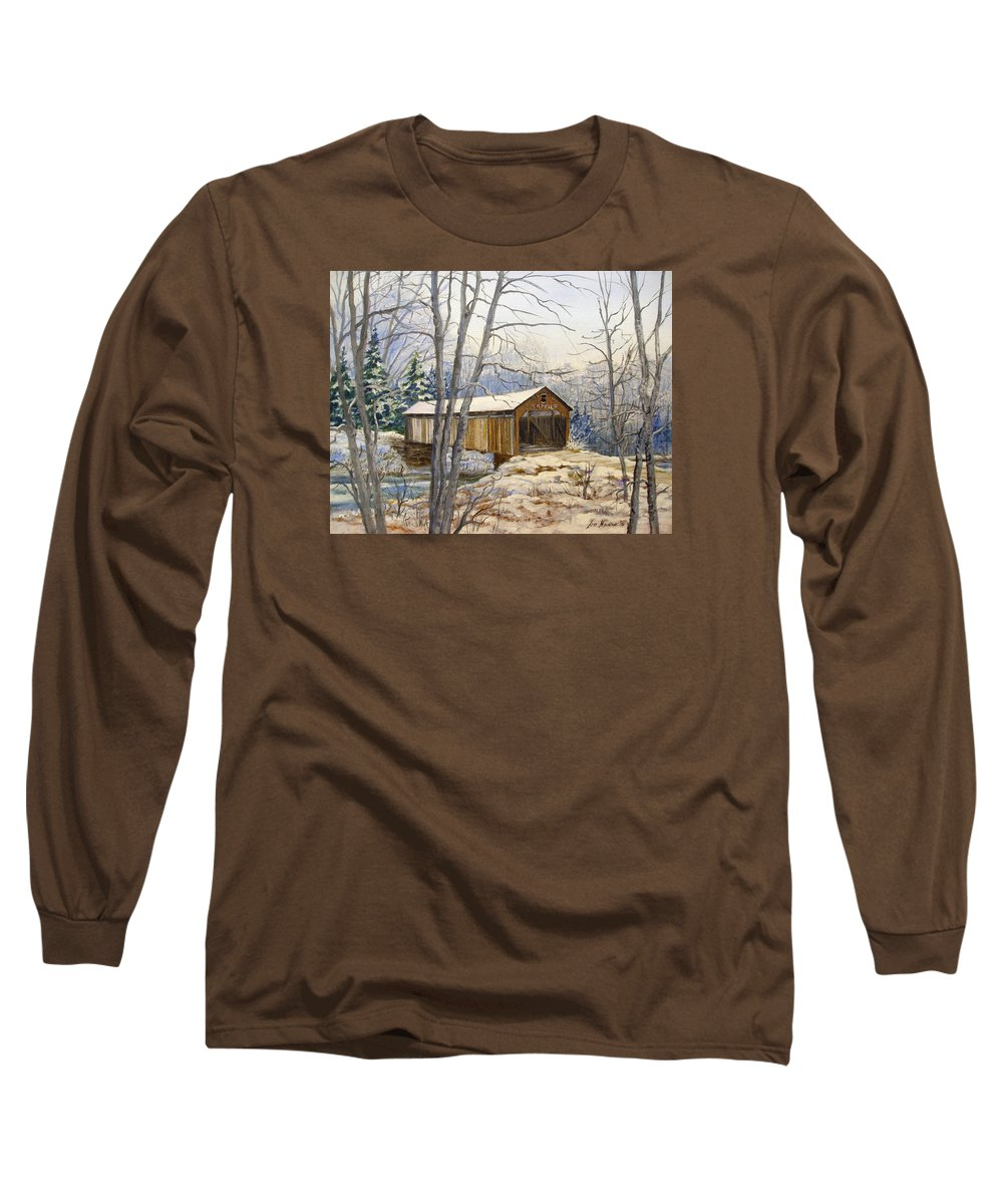 Oil Painting;bridge;covered Bridge;winter Scene;snow;landscape;winter Landscape; Long Sleeve T-Shirt featuring the painting Teegarden Covered Bridge In Winter by Lois Mountz