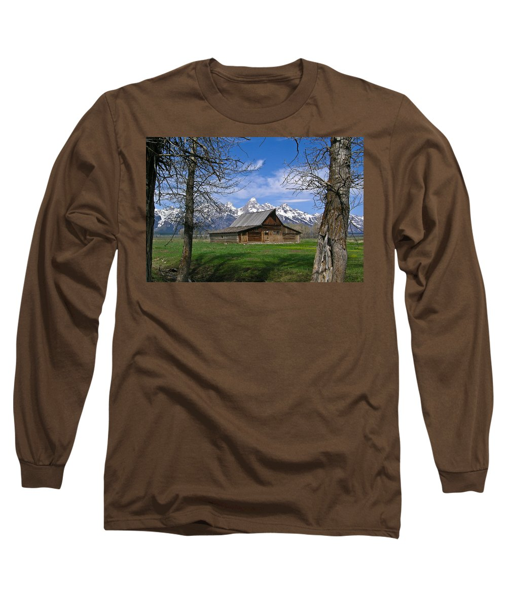 Teton Long Sleeve T-Shirt featuring the photograph Teton Barn by Douglas Barnett