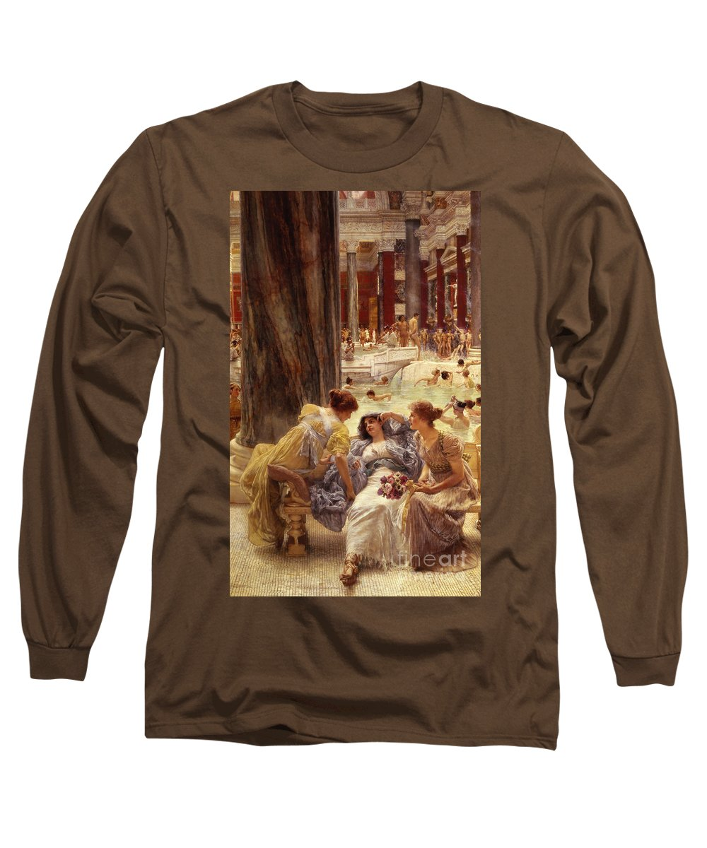 Baths Long Sleeve T-Shirt featuring the painting The Baths Of Caracalla by Sir Lawrence Alma-Tadema