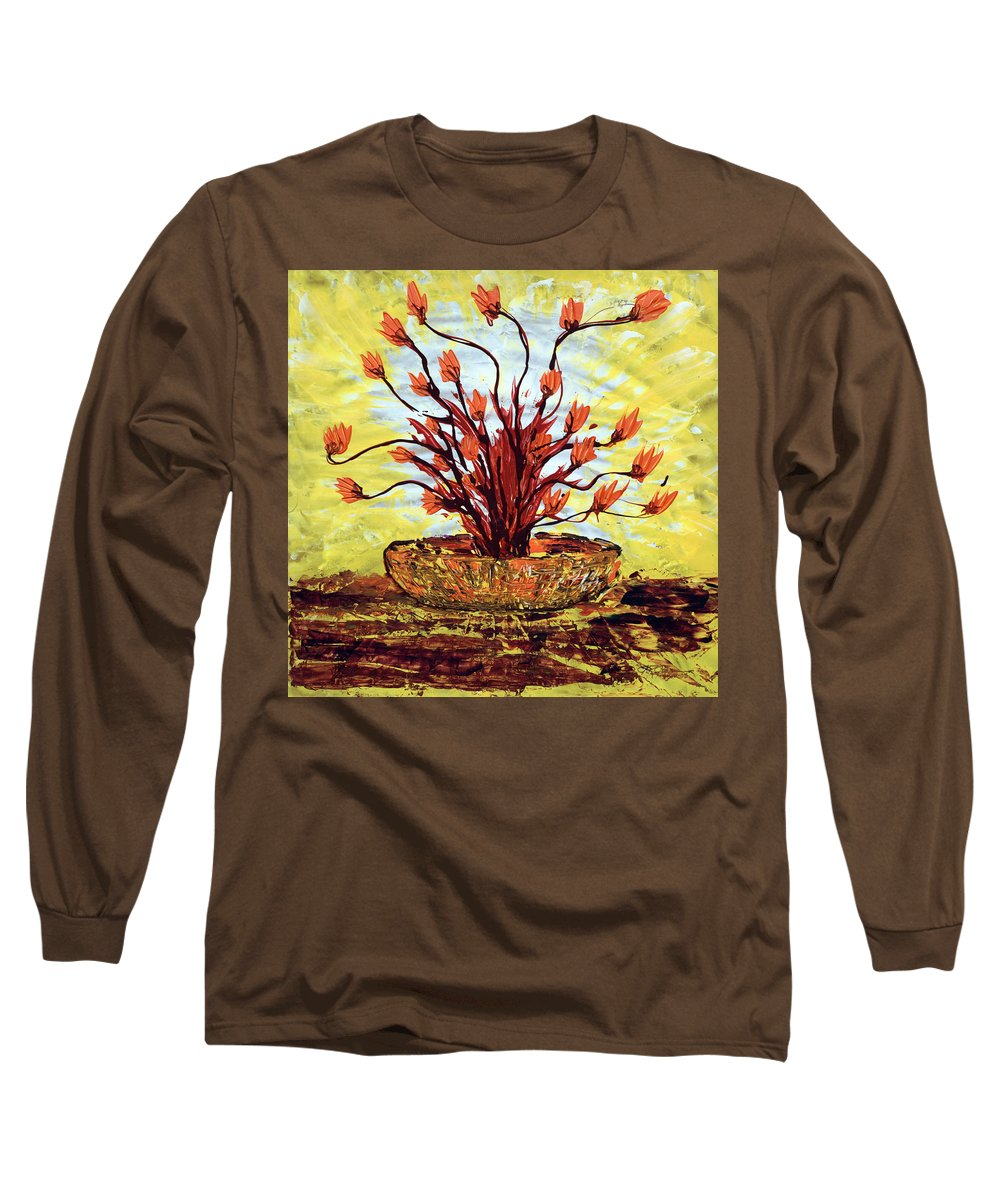 Red Bush Long Sleeve T-Shirt featuring the painting The Burning Bush by J R Seymour