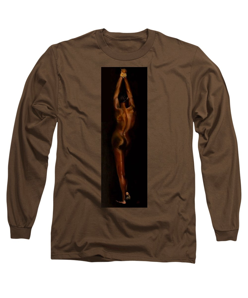 Bondage Long Sleeve T-Shirt featuring the painting The Compliant Captive by Jane Simpson