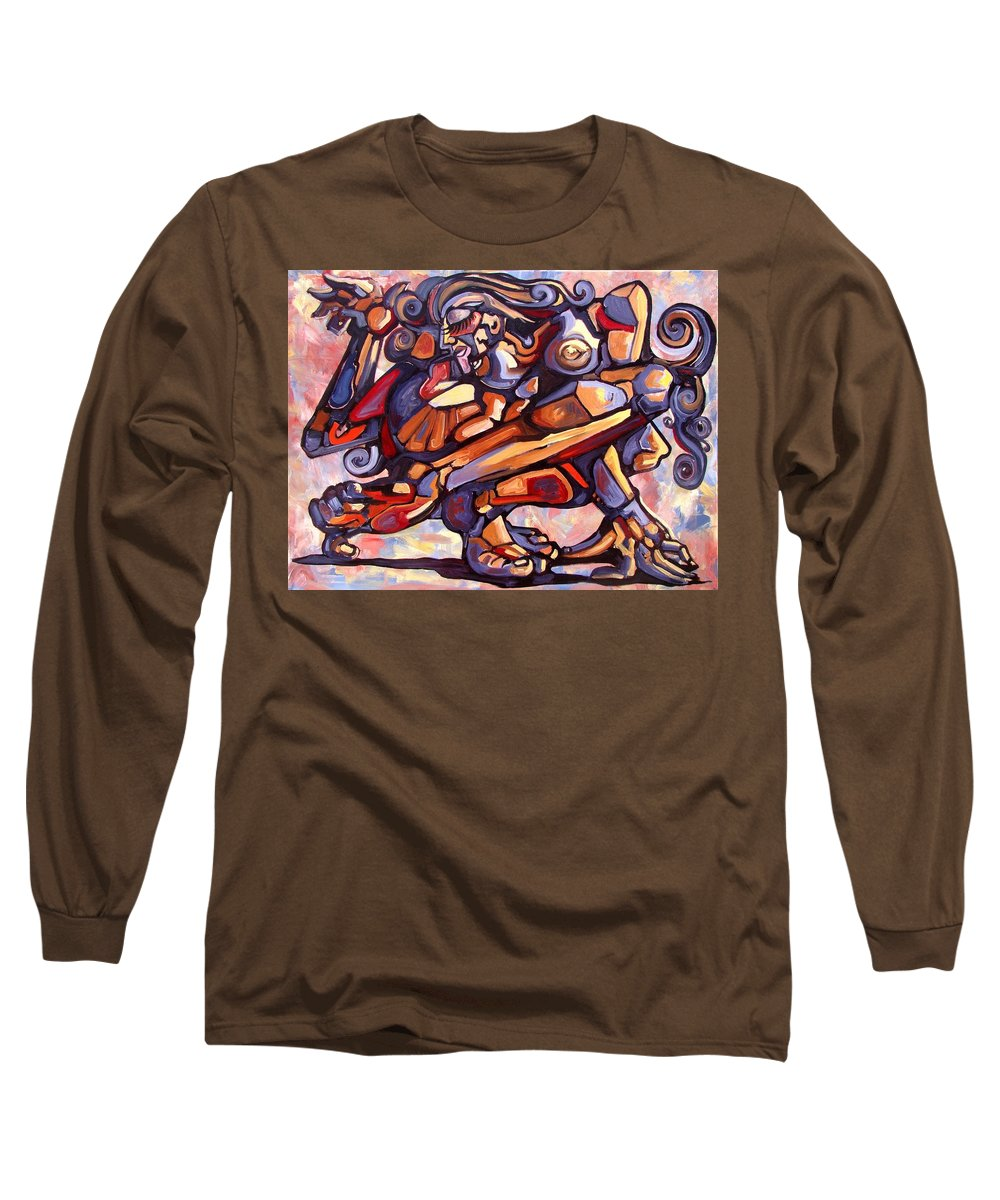 Surrealism Long Sleeve T-Shirt featuring the painting The Distortion Of The Muse by Darwin Leon