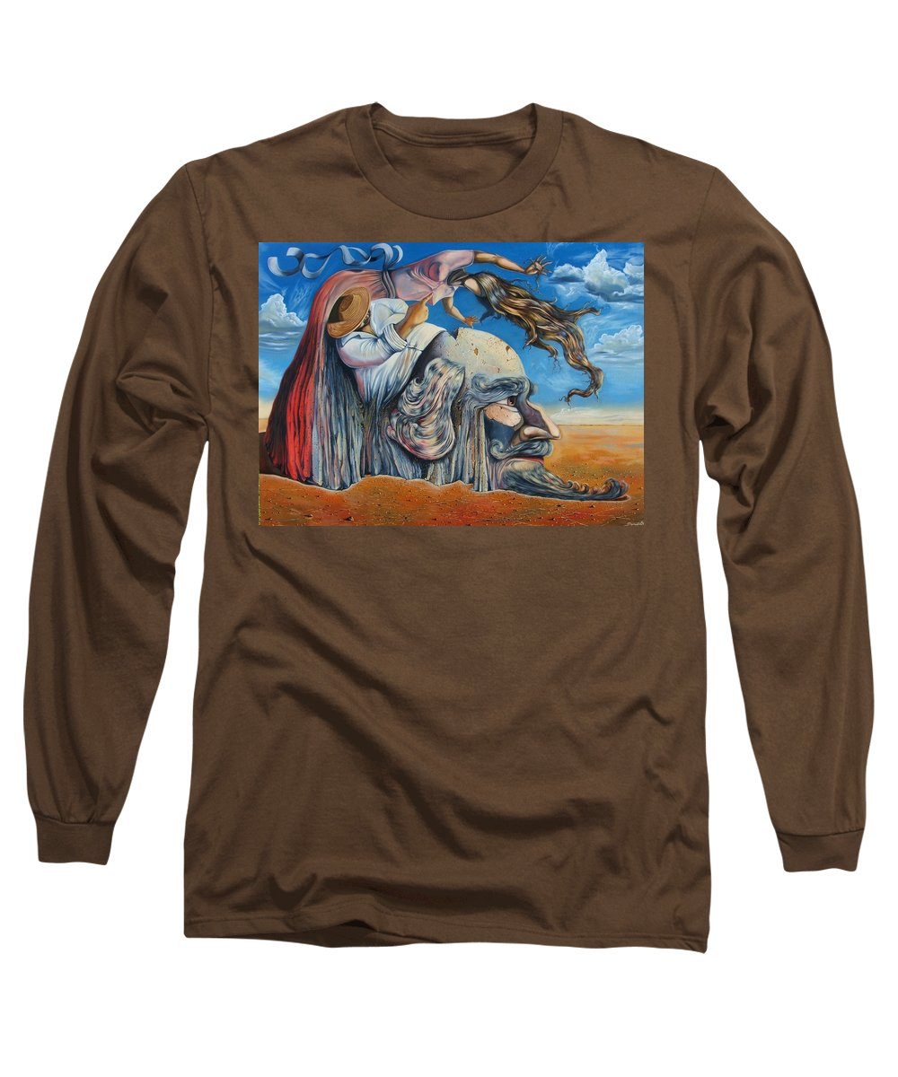 Surrealism Long Sleeve T-Shirt featuring the painting The Eternal Obsession Of Don Quijote by Darwin Leon