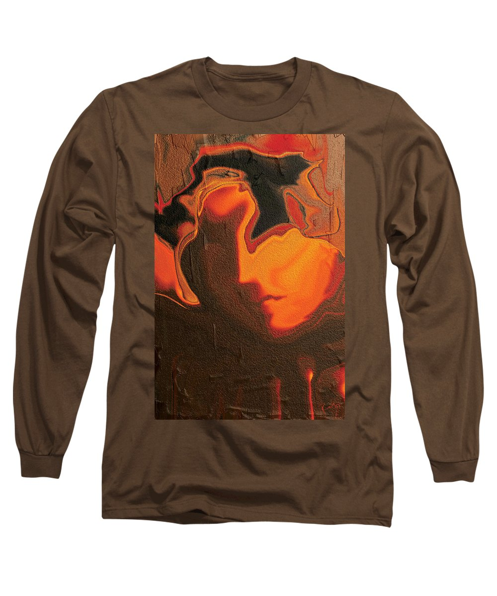 Abstract Long Sleeve T-Shirt featuring the digital art The Face 2 by Rabi Khan