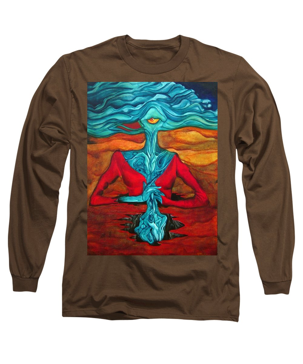 Feast Woman Blue Eye Eat Red Earth Long Sleeve T-Shirt featuring the painting The Feast by Veronica Jackson