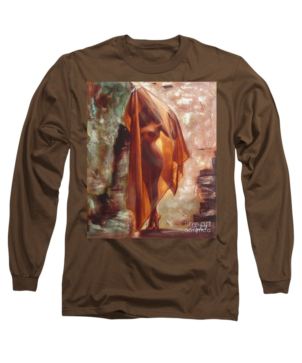 Ignatenko Long Sleeve T-Shirt featuring the painting The Garden Of Stones by Sergey Ignatenko