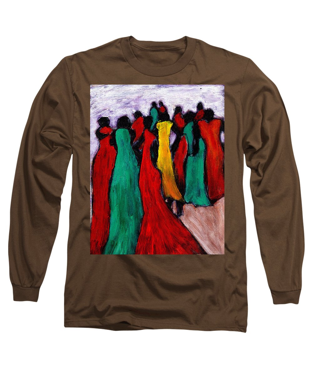Black Art Long Sleeve T-Shirt featuring the painting The Gathering by Wayne Potrafka