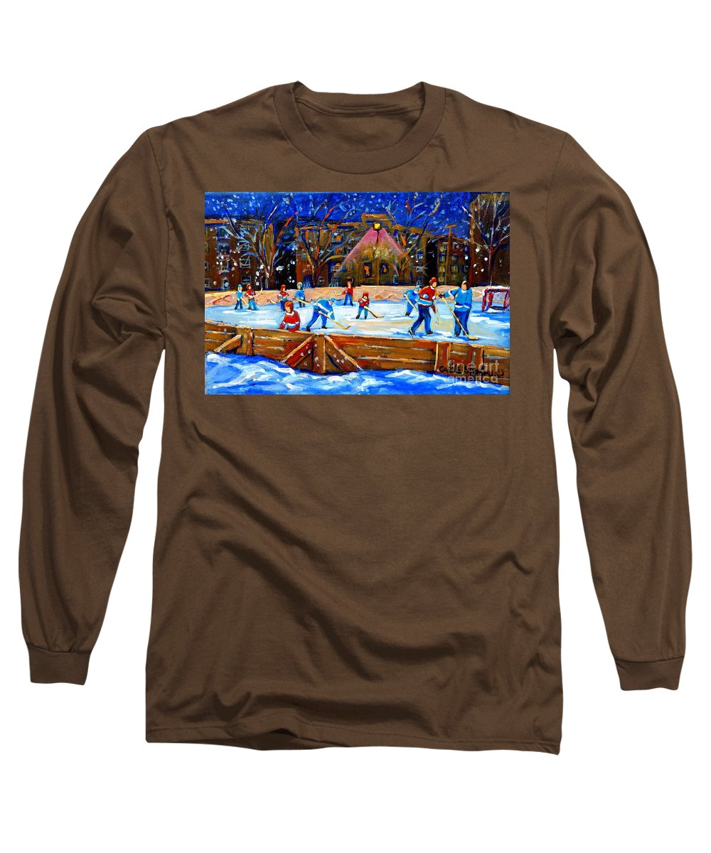 Snow Long Sleeve T-Shirt featuring the painting The Hockey Rink by Carole Spandau