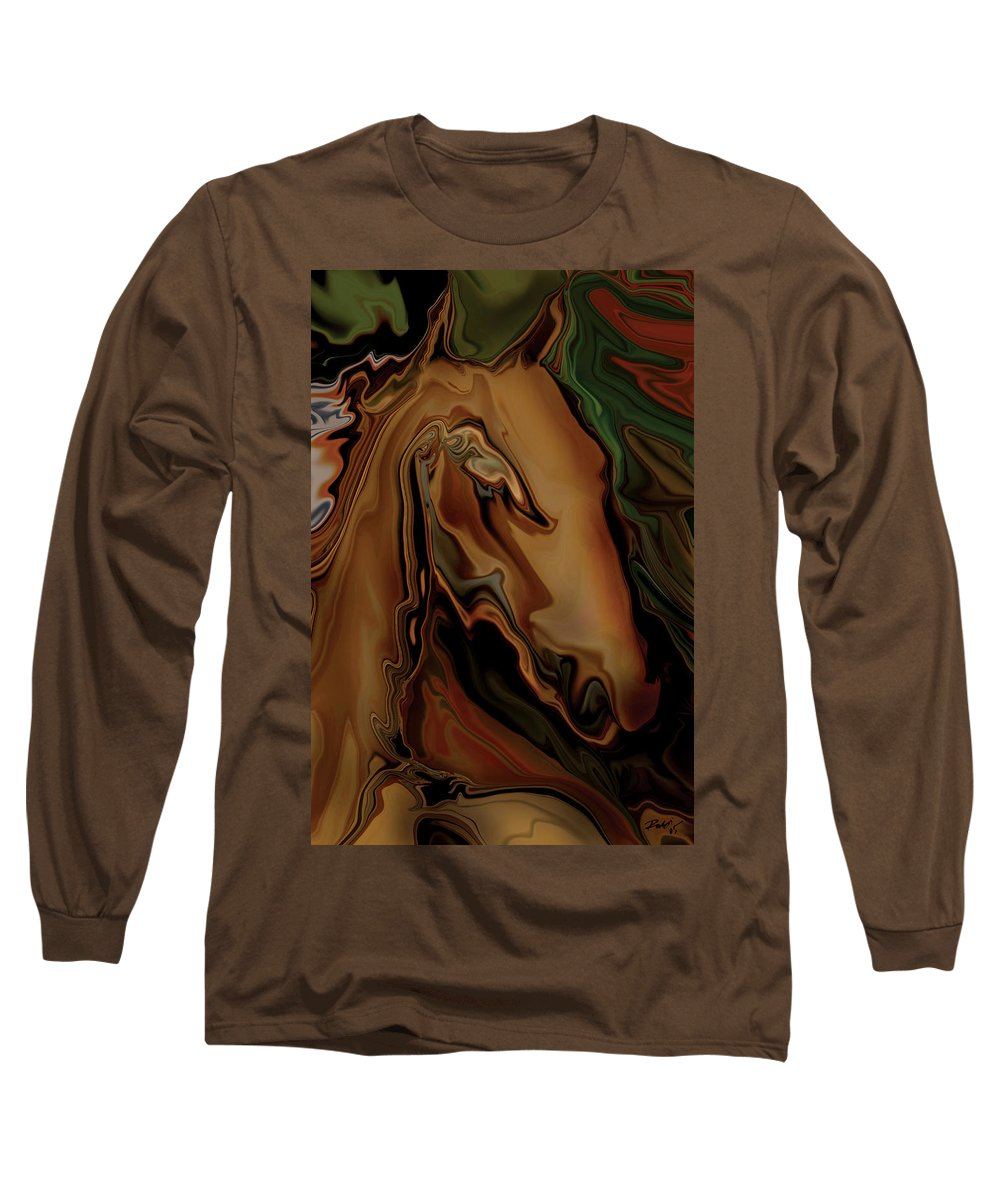 Animal Long Sleeve T-Shirt featuring the digital art The Horse by Rabi Khan