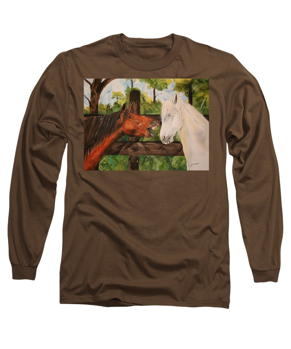Horse Long Sleeve T-Shirt featuring the painting The Horse Whisperers by Jean Blackmer