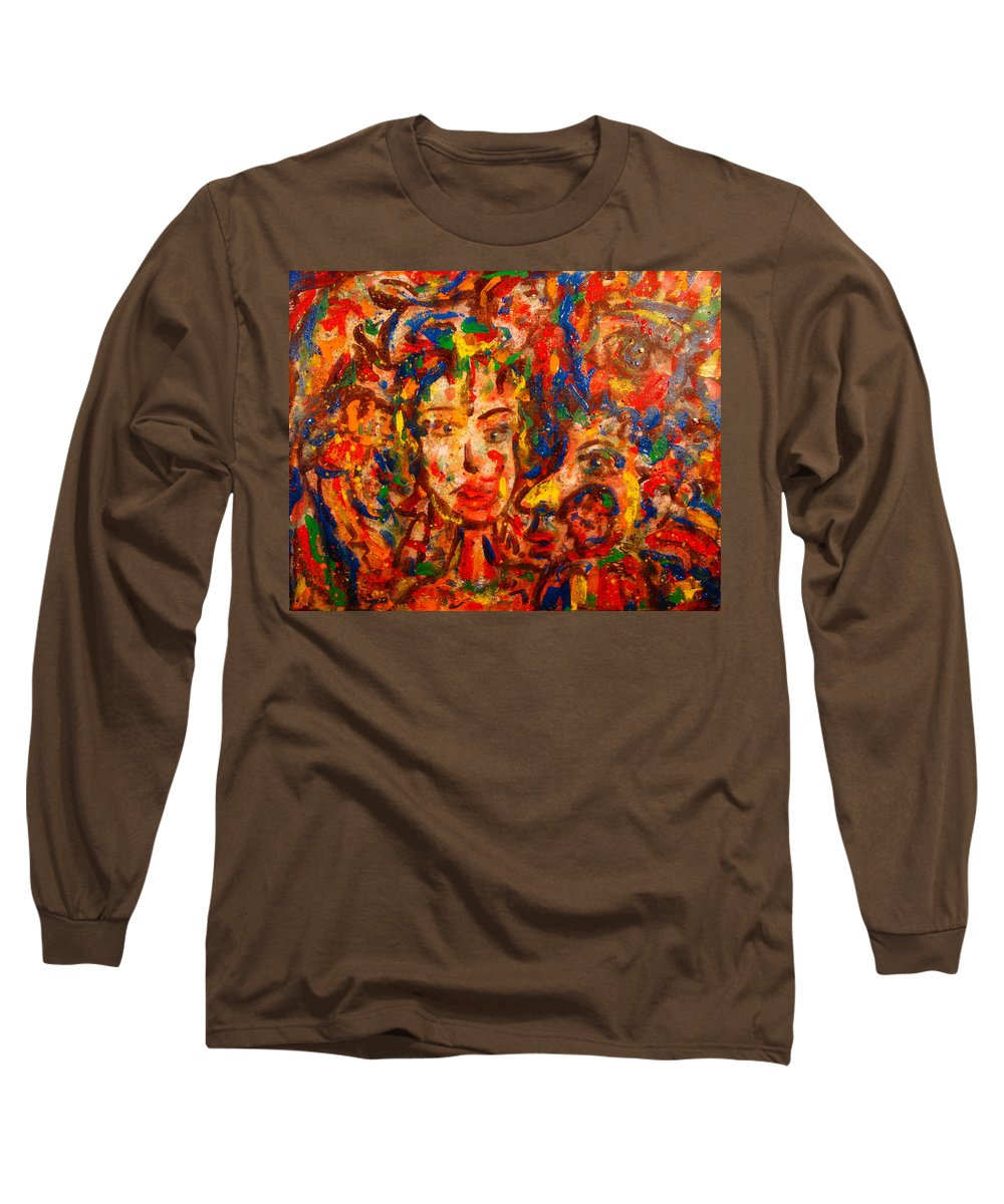 Abstract Long Sleeve T-Shirt featuring the painting The King And I by Natalie Holland