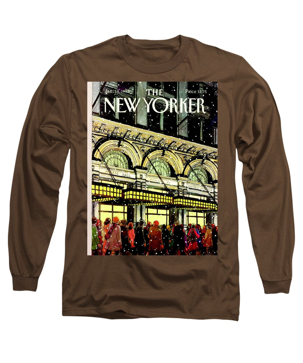 Urban Long Sleeve T-Shirt featuring the painting The New Yorker Cover - January 18th, 1988 by Roxie Munro