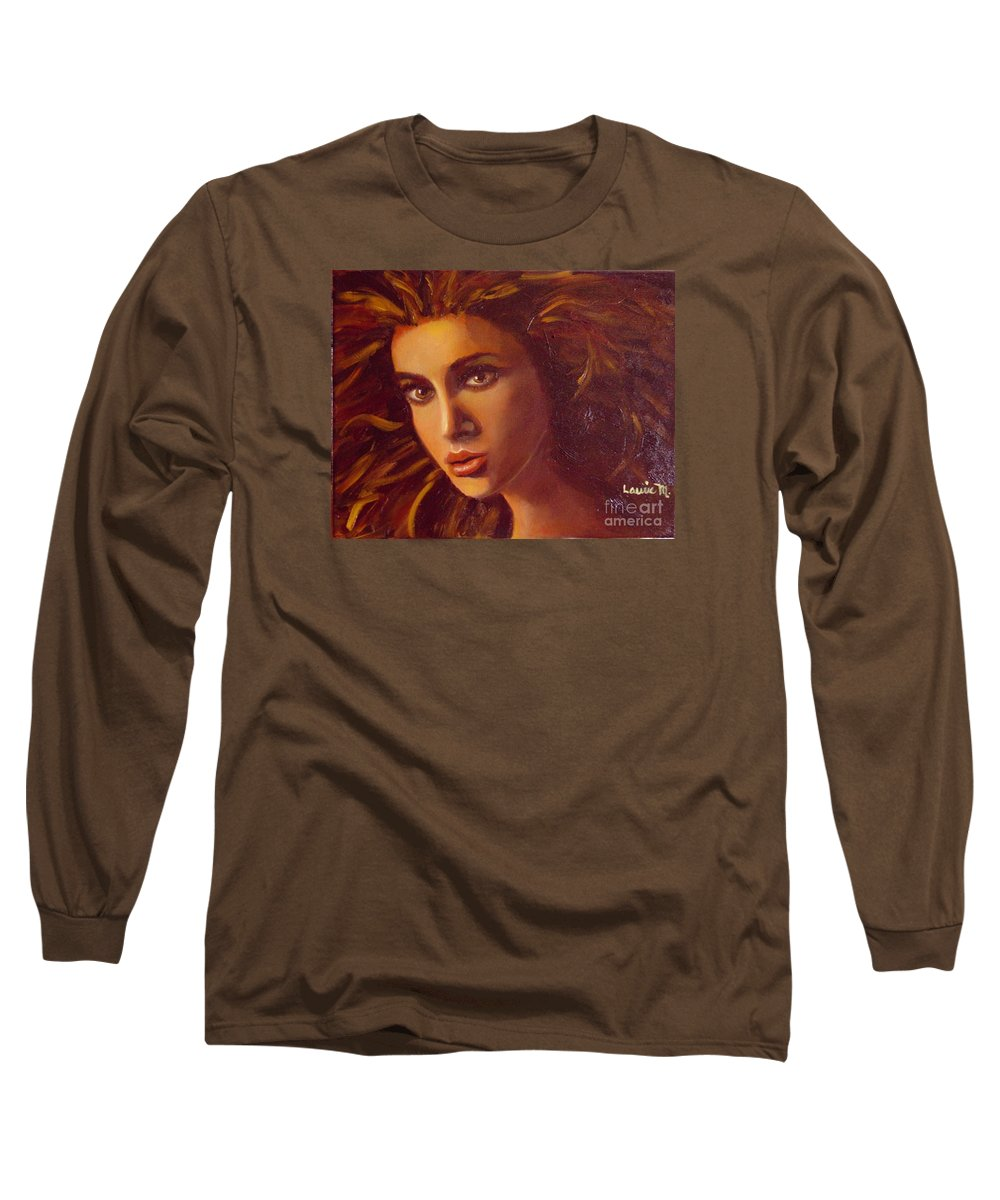 Portrait Long Sleeve T-Shirt featuring the painting The Oracle by Laurie Morgan