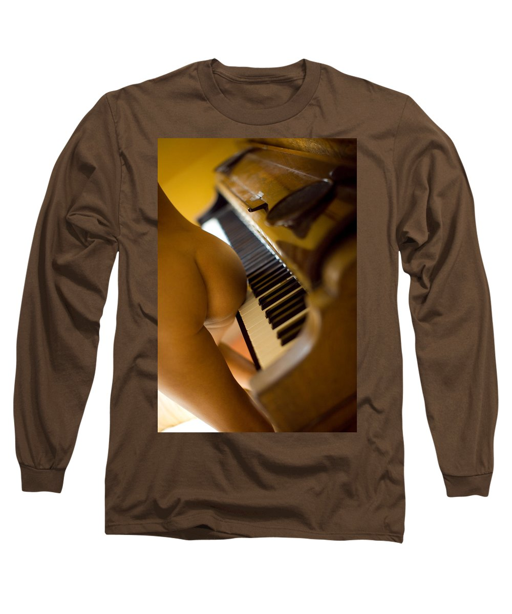 Sensual Long Sleeve T-Shirt featuring the photograph The Piano by Olivier De Rycke