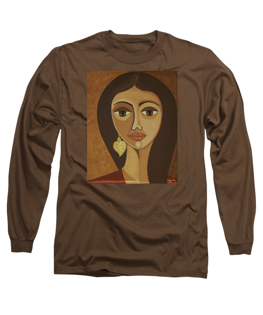Portuguese Long Sleeve T-Shirt featuring the painting The Portuguese Earring by Madalena Lobao-Tello