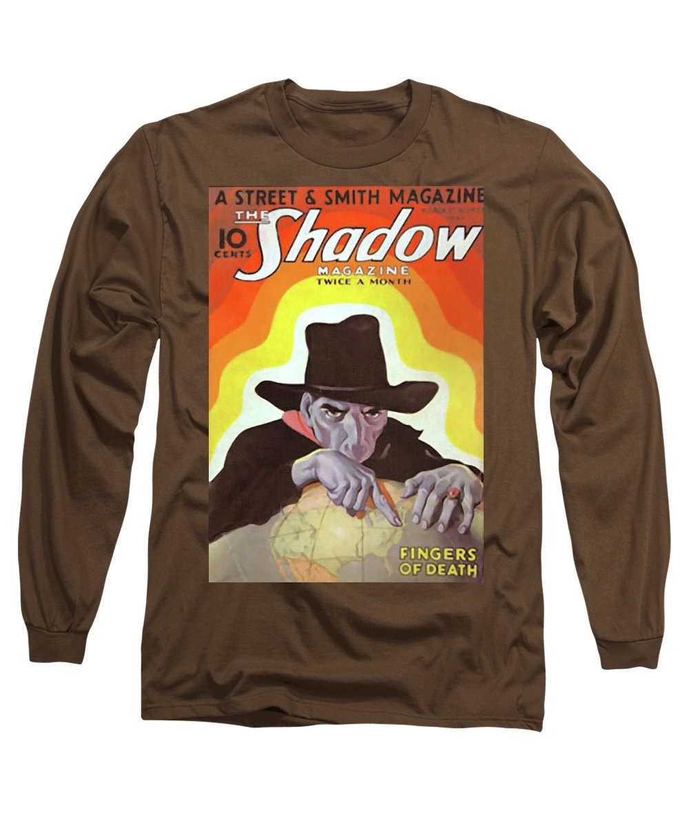 The Shadow Long Sleeve T-Shirt featuring the painting The Shadow Fingers of Death by Conde Nast