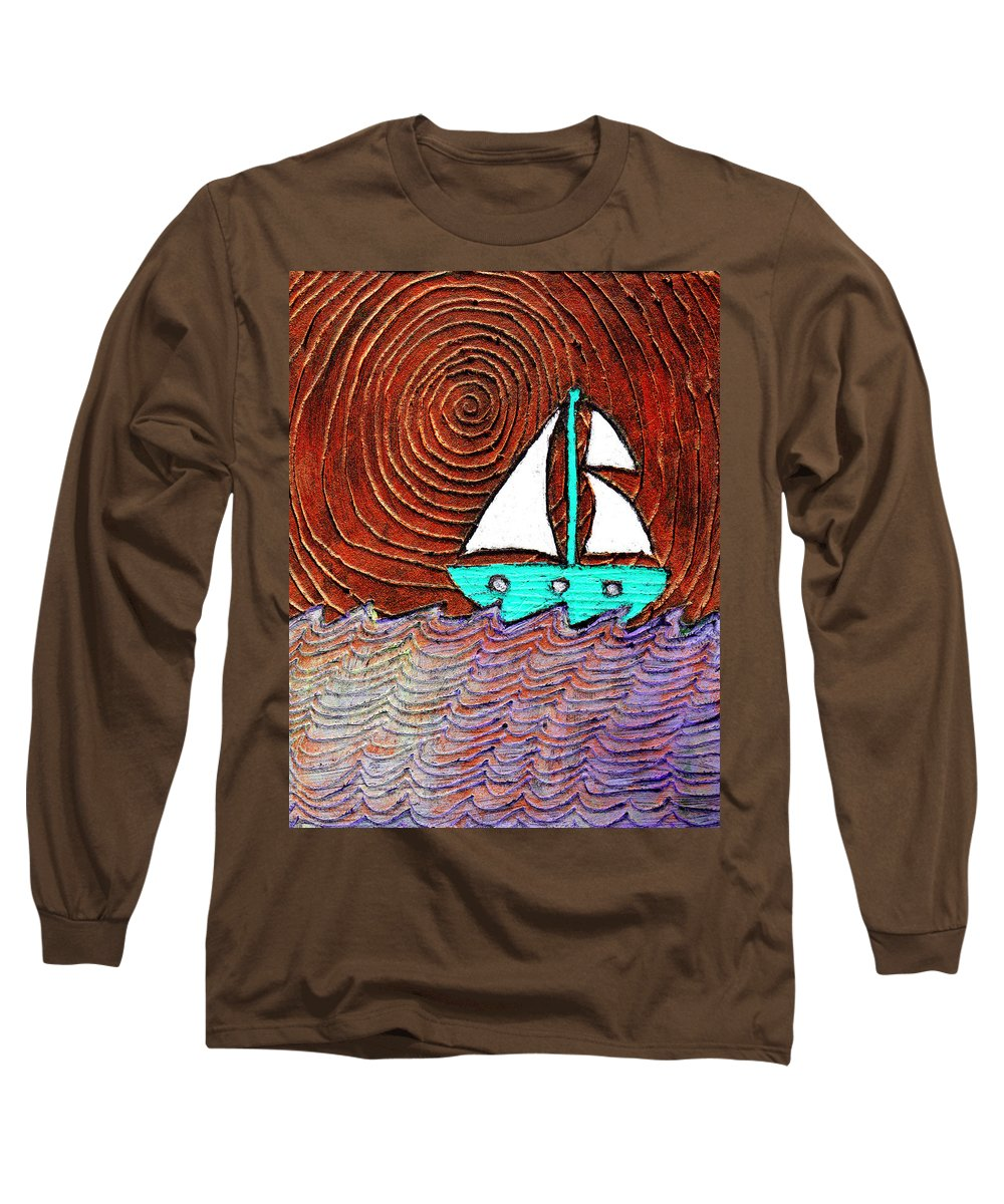 Sailing Long Sleeve T-Shirt featuring the painting The Sky Was Bronze That Night by Wayne Potrafka