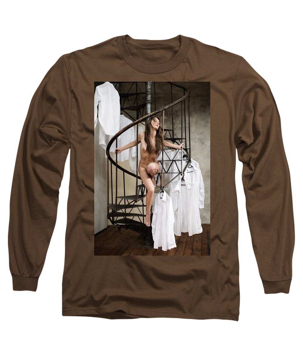 Sensual Long Sleeve T-Shirt featuring the photograph The Stairs by Olivier De Rycke