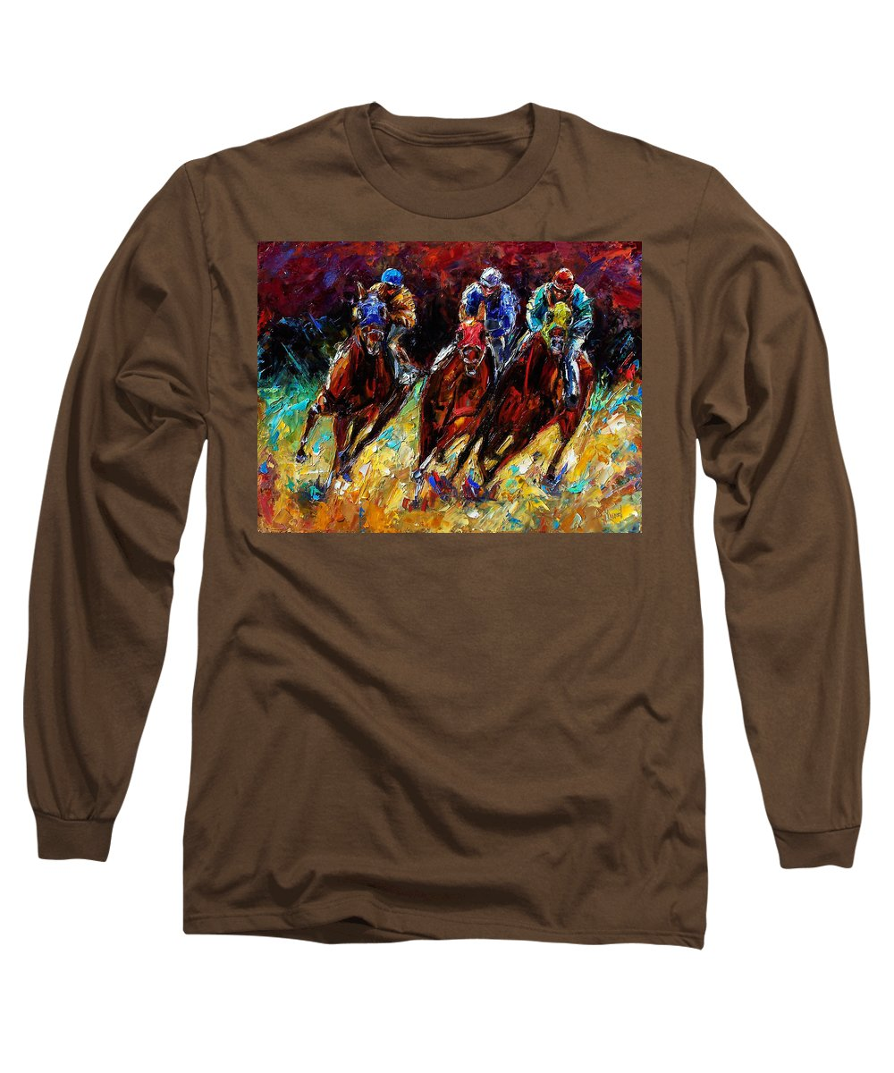Horses Paintings Long Sleeve T-Shirt featuring the painting The Turn by Debra Hurd