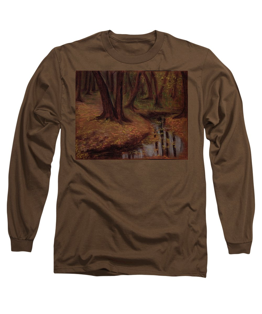 Woods Long Sleeve T-Shirt featuring the pastel The Woods Are Deep And Dark by Asha Sudhaker Shenoy