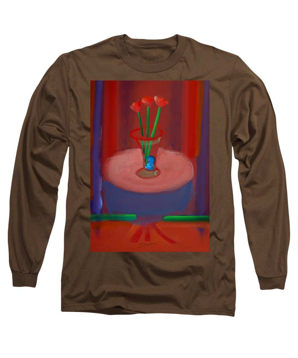 Poppies Long Sleeve T-Shirt featuring the painting Three Poppies In A Vase by Charles Stuart