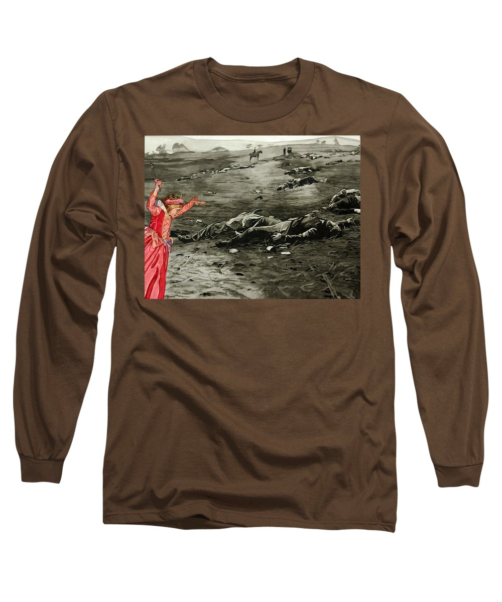 War Long Sleeve T-Shirt featuring the painting Too Late by Valerie Patterson