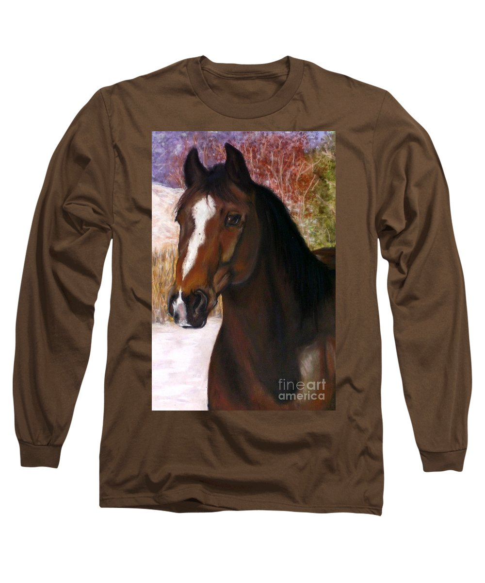Horse Long Sleeve T-Shirt featuring the painting Toronto by Frances Marino