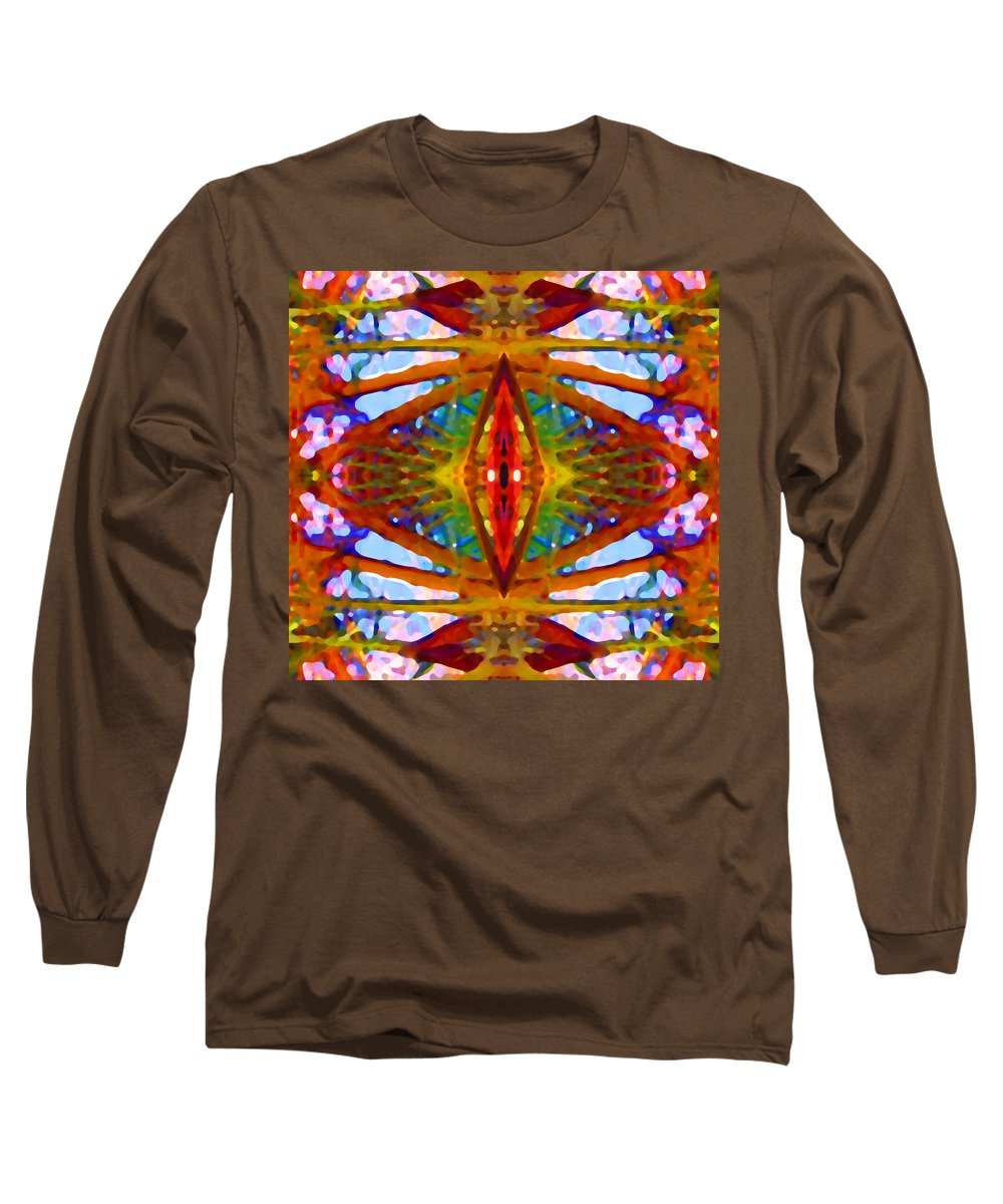 Abstract Long Sleeve T-Shirt featuring the painting Tropical Stained Glass by Amy Vangsgard