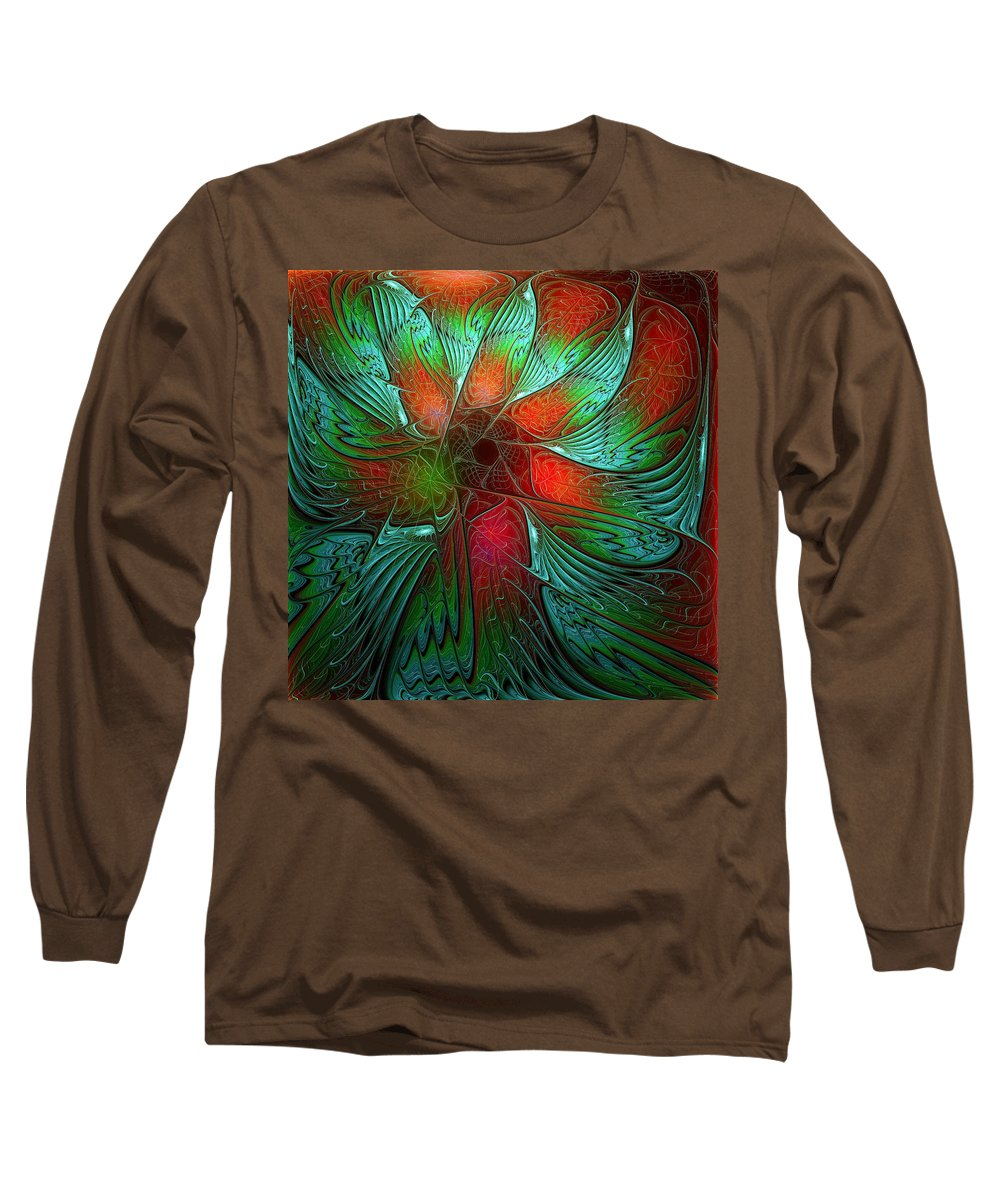 Digital Art Long Sleeve T-Shirt featuring the digital art Tropical Tones by Amanda Moore