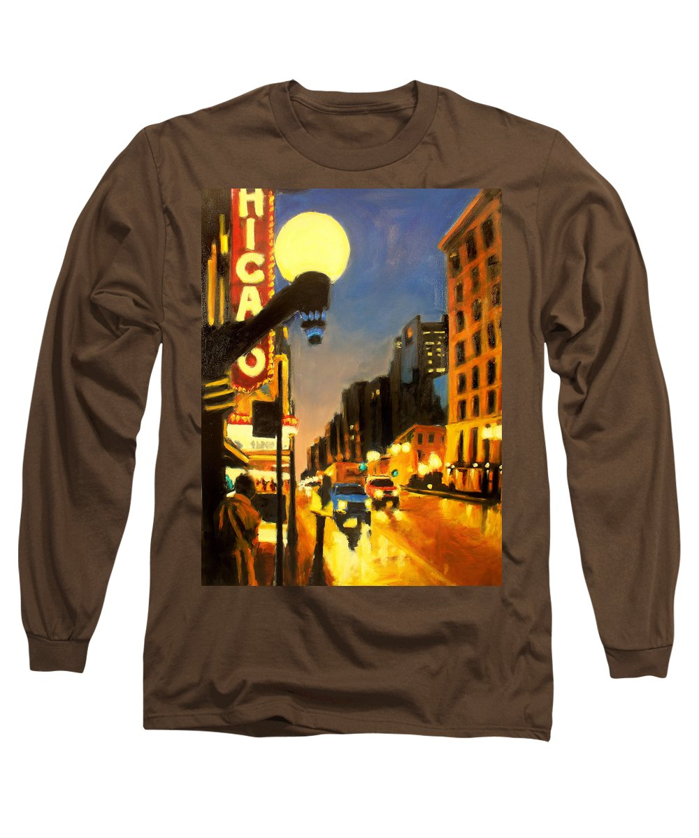 Rob Reeves Long Sleeve T-Shirt featuring the painting Twilight In Chicago - The Watcher by Robert Reeves