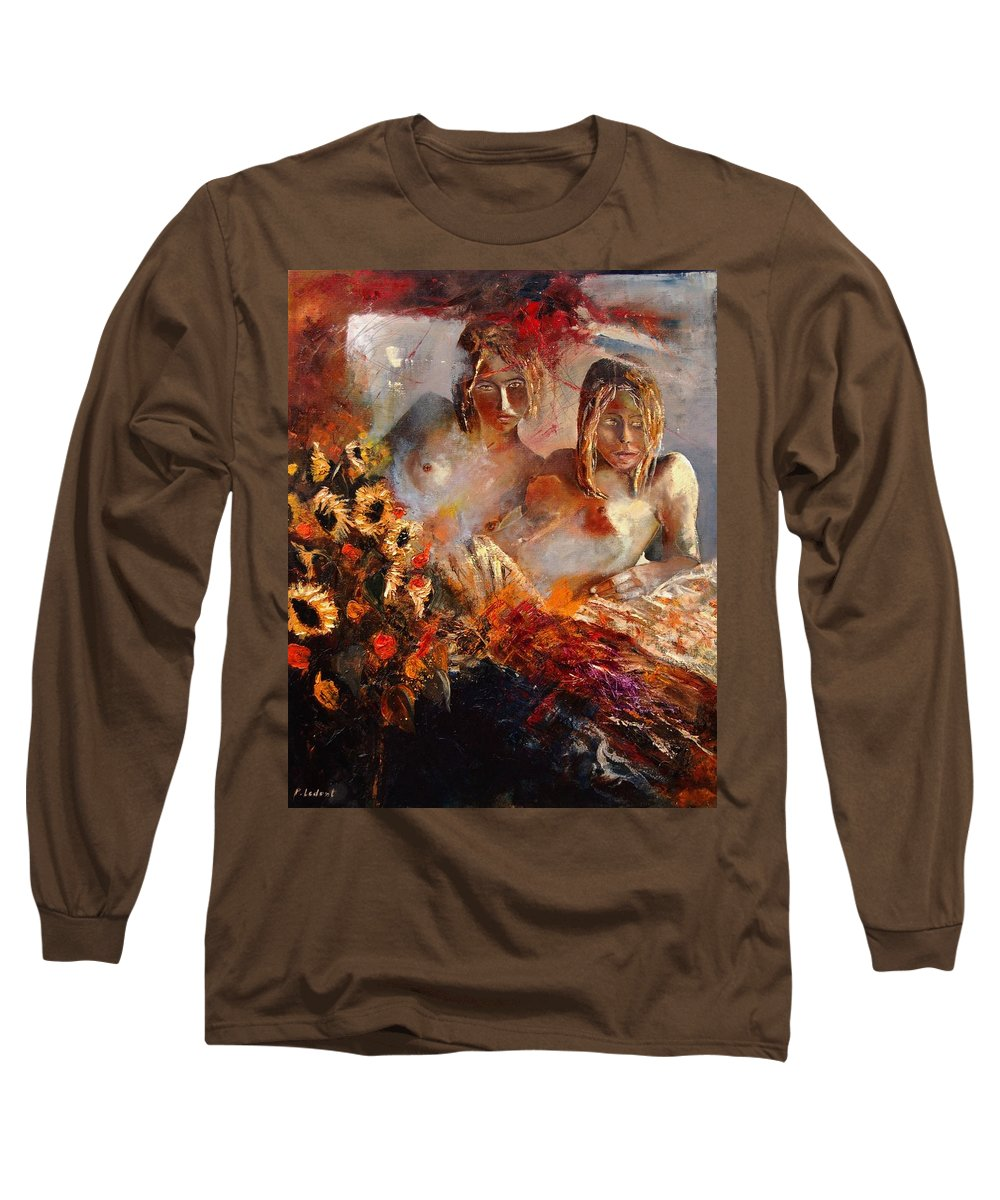 Girl Nude Long Sleeve T-Shirt featuring the painting Two Friends by Pol Ledent