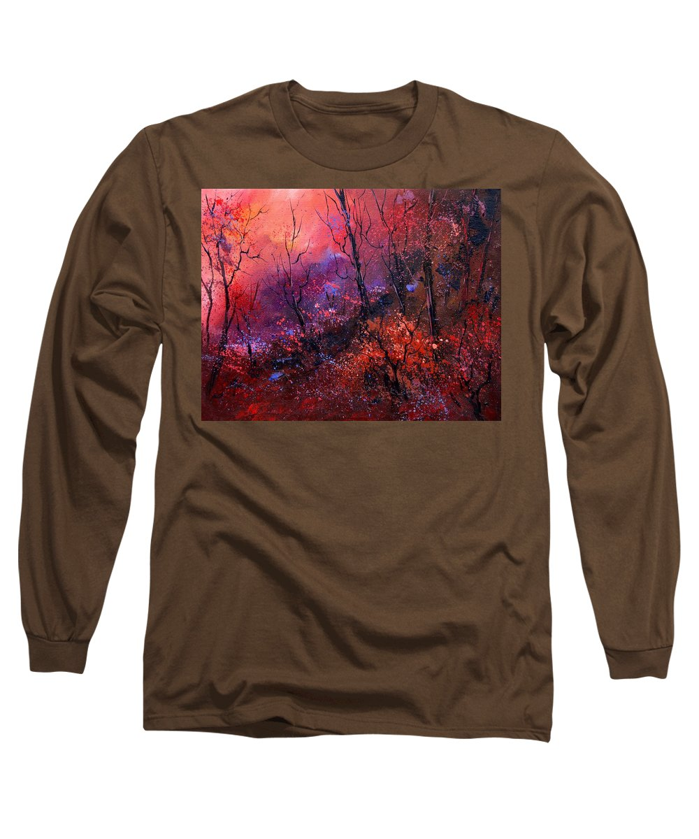 Wood Sunset Tree Long Sleeve T-Shirt featuring the painting Unset In The Wood by Pol Ledent