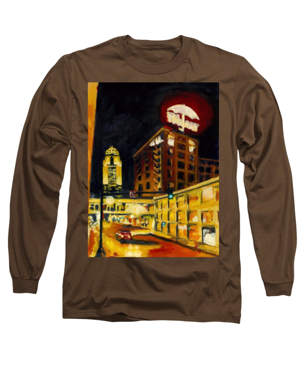 Rob Reeves Long Sleeve T-Shirt featuring the painting Untitled In Red And Gold by Robert Reeves
