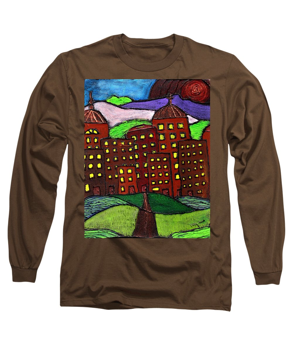 City Scape Long Sleeve T-Shirt featuring the painting Urban Legand by Wayne Potrafka