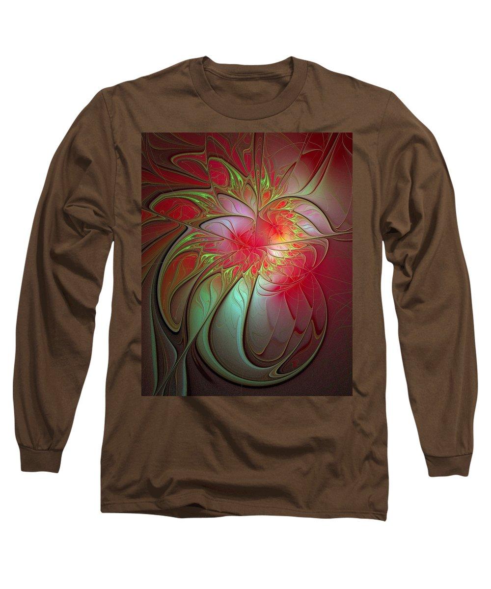 Digital Art Long Sleeve T-Shirt featuring the digital art Vase Of Flowers by Amanda Moore