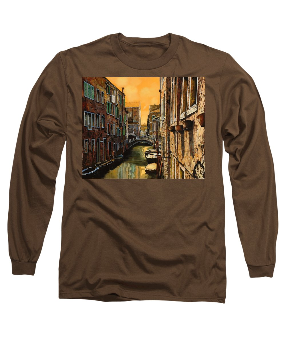 Venice Long Sleeve T-Shirt featuring the painting Venezia Al Tramonto by Guido Borelli