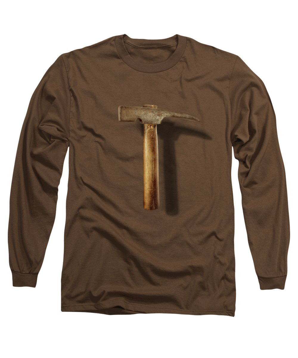 Hand Tool Long Sleeve T-Shirt featuring the photograph Vintage Masonry Hammer on Black by YoPedro