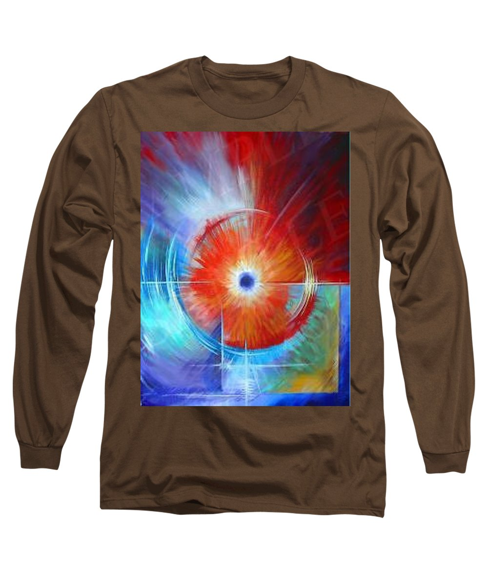 Clouds Long Sleeve T-Shirt featuring the painting Vortex by James Christopher Hill