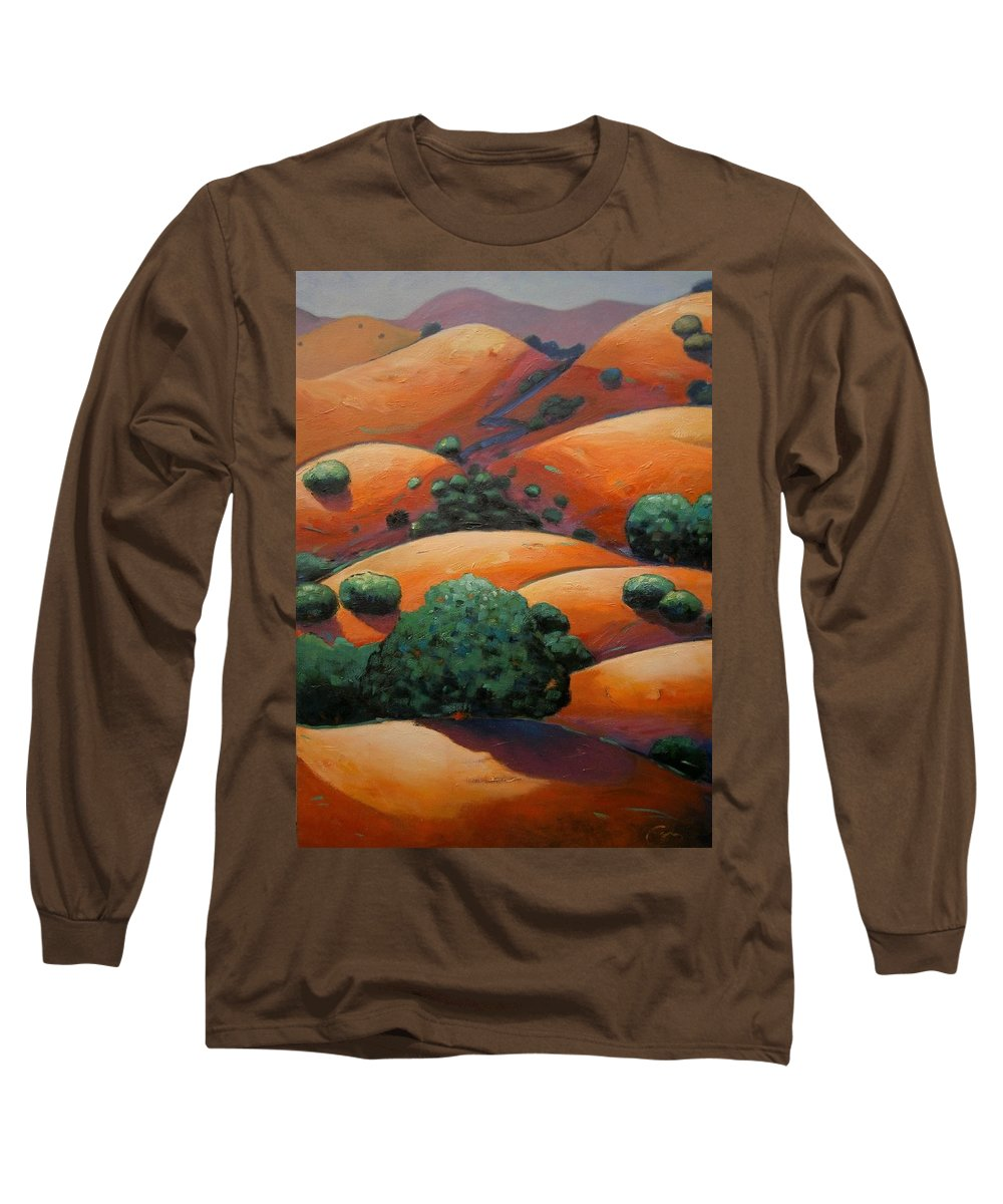 California Landscape Long Sleeve T-Shirt featuring the painting Warm Afternoon Light On Ca Hillside by Gary Coleman