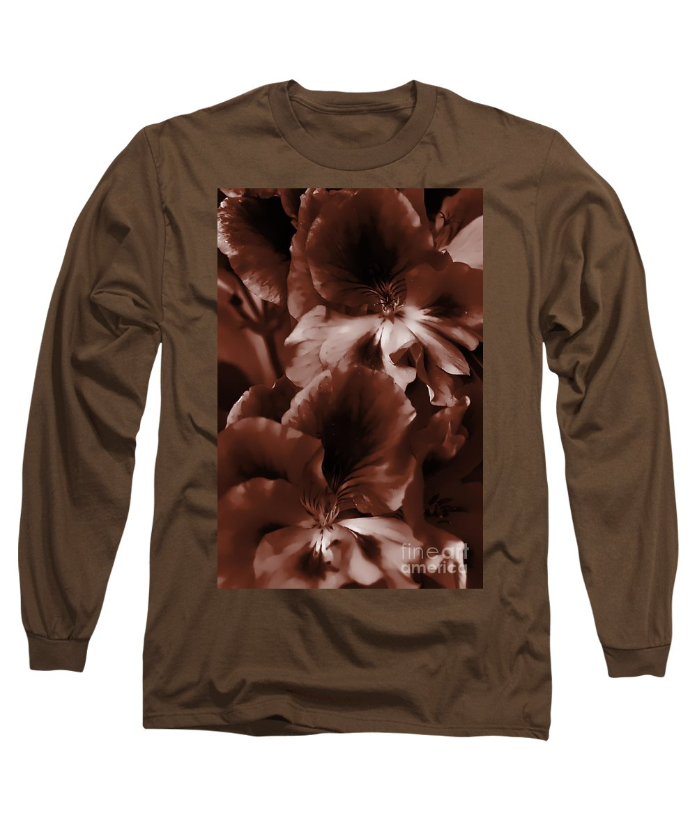 Clay Long Sleeve T-Shirt featuring the photograph Warm Tone Monochrome Floral Art by Clayton Bruster