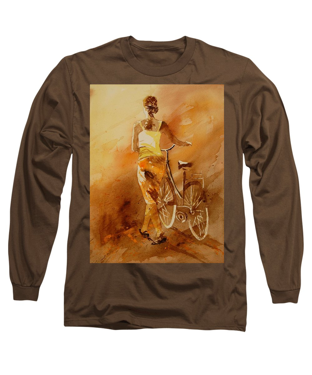 Figurative Long Sleeve T-Shirt featuring the painting Watercolor With My Bike by Pol Ledent