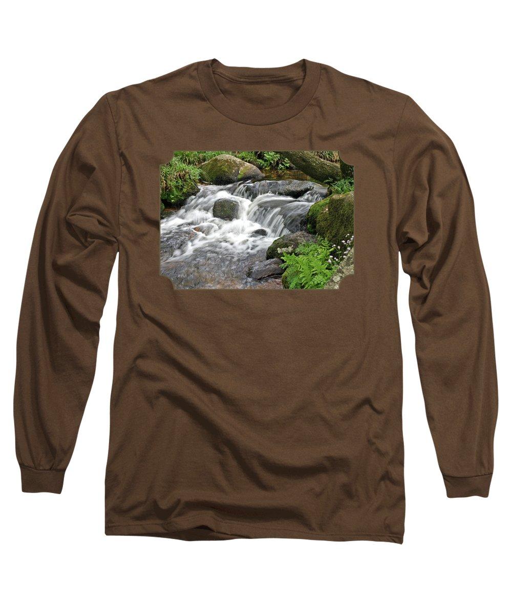 Dartmoor National Park Long Sleeve T-Shirt featuring the photograph Waterfall At Hexworthy Dartmoor by Gill Billington