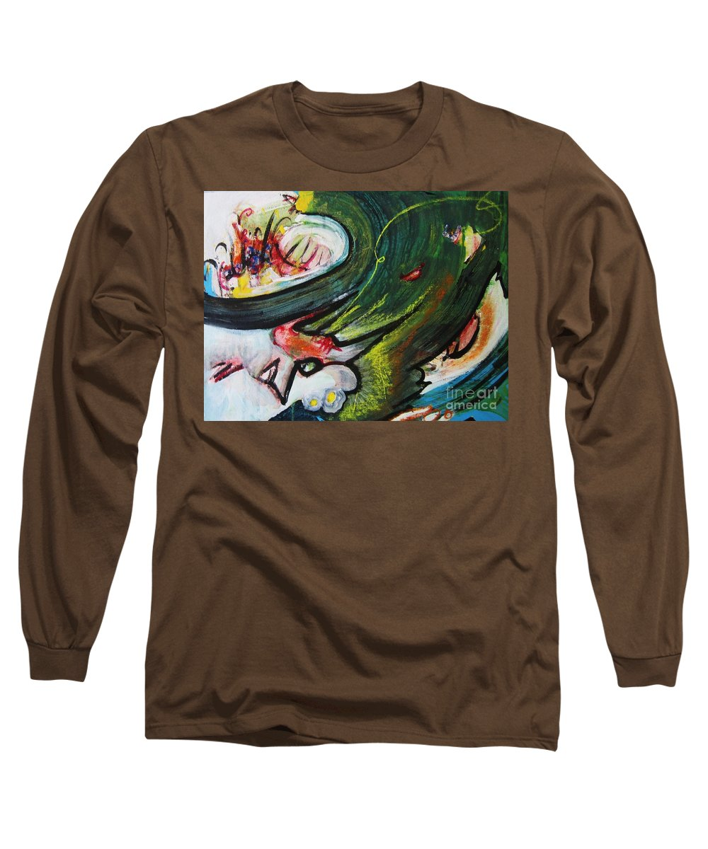 Abstract Paintings Paintings Abstract Art Paintings Long Sleeve T-Shirt featuring the painting Waves by Seon-Jeong Kim