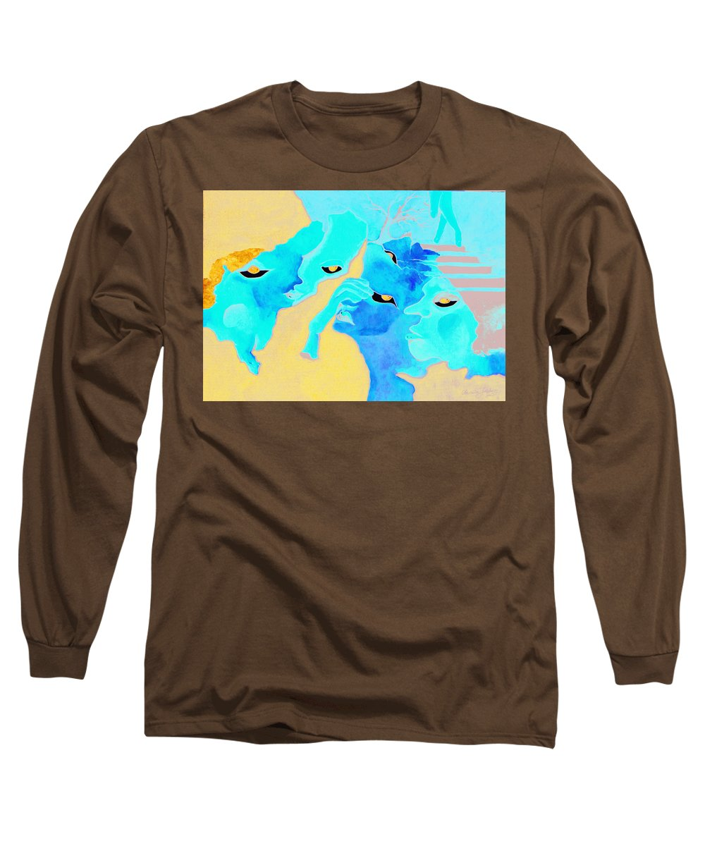 Lost Curious Red Blue People Long Sleeve T-Shirt featuring the painting Where Was I by Veronica Jackson